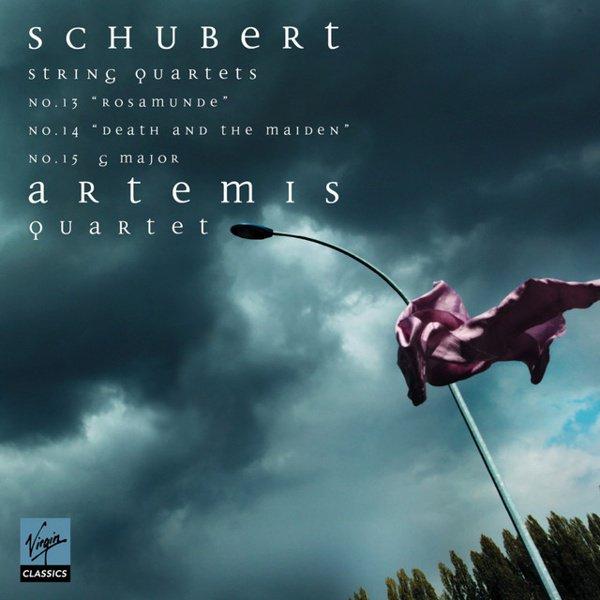 """Schubert: String Quartets No. 13 """"Rosamunde"""", No. 14 """"Death and the Maiden"""", No. 15 G major album cover"""